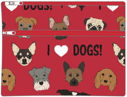 I LOVE DOGS LARGE PENCIL CASE
