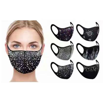 Crystal Diamond Rhinestone Face Mask  6 Assorted (Due 20/10/21)