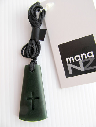 CFX5 Greenstone Toki Cross on black cord (3cm)