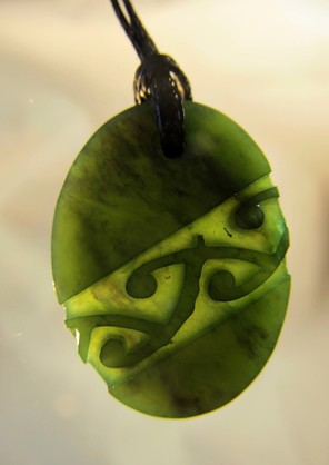 D123 Mana NZ Oval greenstone pendant (3.4cm) with diagonal pattern and black cord