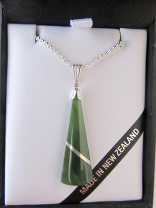 JI302 Wedge-shaped pendant with a silver thread through it, one a sterling silver chain.
