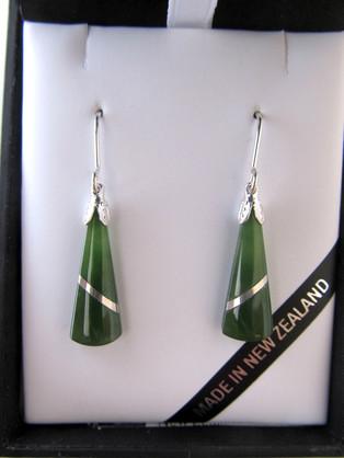 JIE402 Mana NZ Wedge shaped greenstone earrings (2.5cm)  with silver thread