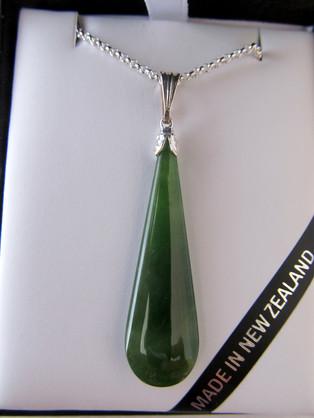 JP101S Mana NZ Drop-shaped greenstone pendant (3.8cm) set in silver.