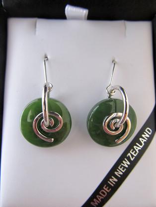 NN5050 Mana NZ Smooth round greenstone earrings with silver koru.
