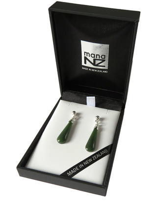 JE205S New Zealand greenstone drop earrings (2.2cm)