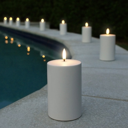 "UYUNI LIGHTING Outdoor Candle - White 7.6cm x 12.7cm (3.0"" x 5"") RRP $ 69.95"